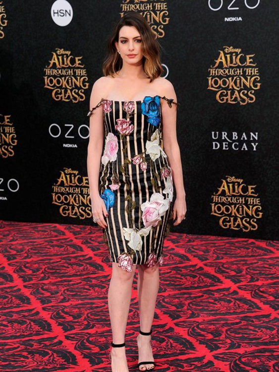 anne hathaway floral dress outfit